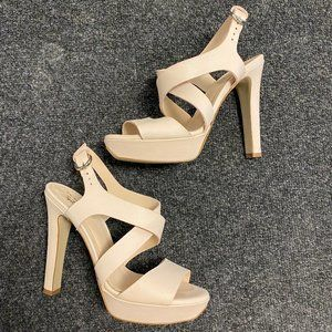 Le Crown nude leather platform heels